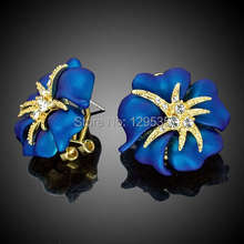 New Trendy Starfish Gold Color Blue Flower Earring Stud Austrian Crystal free shipping