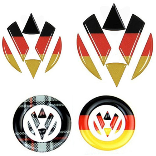 Steering Wheel Car Sticker Germany Flag Decal VW Emblem Front Rear Logo For Volkswagen Golf 6 7 Polo Beetle Touran Passat CC R36(China)