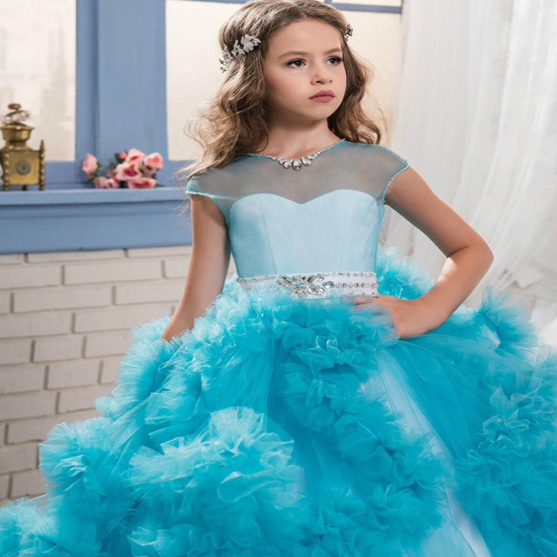 Sweet Pink Ruffles Flower Girl Dress Colorful Beaded Pearls Communion Dresses Pretty Floral Pageant Dresses