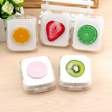 LIUSVENTINA DIY acrylic  cute fruit orange  contact lens case for eyes contact lenses box for glasses