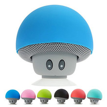 Music Mini Wireless Bluetooth Speaker Cartoon Mushroom Head with Sucking Disk Stand Mobile Phone Speaker for iPhone iPad Laptop
