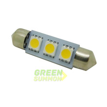 10pcs/lot Warm White 39mm 3 SMD 5050 LED Light Festoon  AUTO Interior Dome LED Bulb