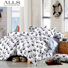 Black and white bedding set Panda 100% cotton bed sheet/bedspread/Duvet cover set Twin Queen King size for single double bed