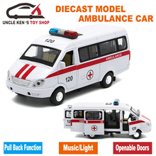 Diecast Russian Ambulance GAZ Gazel Scale Model, Metal Car Toys For Boys Or Kids As Gifts With Functions