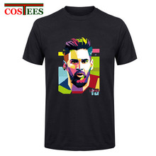 2017 Lionel Messi Shirts Barcelona Men's Short sleeve Messi T-shirts 100% cotton tshirt Tops Argentina jersey for fans tee shirt(China)