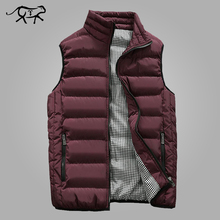 Autumn Vest Men Fashion Stand Collar Men's Sleeveless Jackets Casual Slim Fit Cotton Pad Coats Man Winter Waistcoats Plus Size(China)