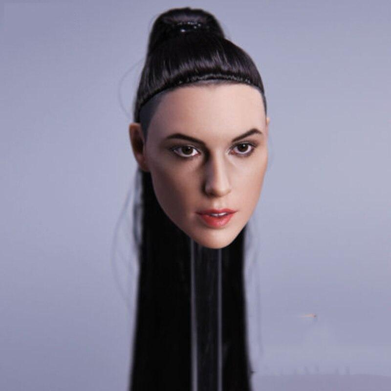 """1//6 Female Head Sculpt Cheveux Noir Pour 12/"""" femelle poupée PHICEN Hot Toys Verycool"""