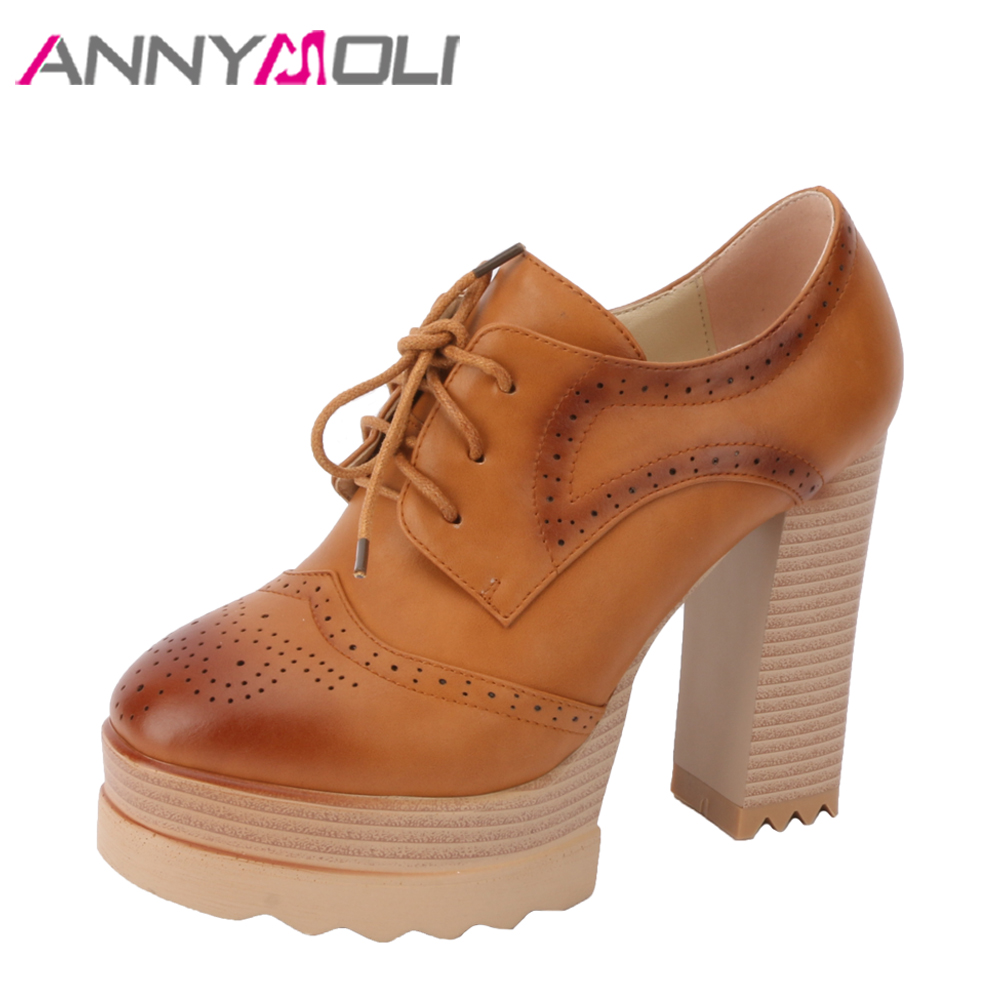 ANNYMOLI Women Pumps Platform High Heels Party Shoes Brogue Thick Extreme High Heels Lace Up Female Shoes Spring Sexy Footwear<br>