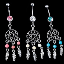 Body Jewelry Crystal Gem Dream Catcher Navel Dangle Belly Barbell Button Bar Ring Body piercing Art
