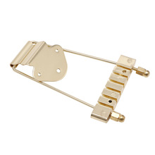 Hot 1Pc Gold Guitar Tailpiece Trapeze Open Frame Bridge For 6 String Archtop Guitar(China)