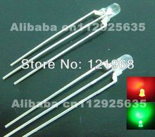 Free shipping High intensity 3MM LED bulb R+G multicolor diodes 100PCS(CE&Rosh)Common anode milky diffused dip led(China)