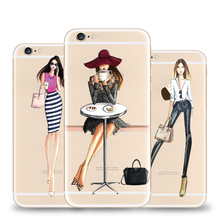 TPU Case for iPhone 7 6 6S Plus 5 5S SE Soft Silicone TPU Transparent Travel Girl Female Phone Cases Cover Skin Fundas Coque