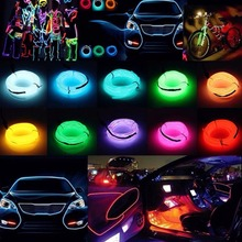 1M 2M 3M 5M Flexible EL Wire Neon Lamp Tube Rope Dance Party Car Decor Lighting DC 12V Glow LED Strip Light