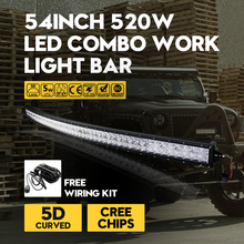 "54""Inch 5D 520W Cree Chips Super-long Bar-type Curved Car Lights Combo LED Work Light Bar Trailer Off-road Driving Lamp External"