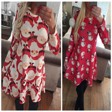 2017 Autumn winter Christmas women dress santa deer print long sleeve ukraine Xmas Snowman Party Flared Swing Dress Gift red(China)