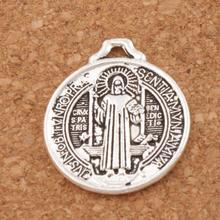 Saint Benedict Medal Cross Charms Fashion Jewelry DIY L1643 10pcs 25x22MM Antique Silver(China)