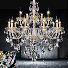 Free shipping 15 lights gold candle chandelier abajur antique lampada lustre hotel villa parlor clear crystal chandeliers(China)