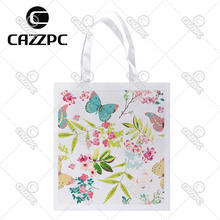 Watercolor Colorful spring Tropical Flower with Butterfly Print Custom individual lightweight polyester fabric Reusable Bag gift