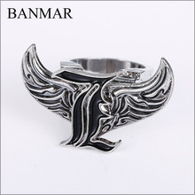 BANMAR Movies Death Note Rings Angel Wings Rotatable L Logo Stainless Steel Silver Cosplay Ring 2017 Men Jewelry Accessories