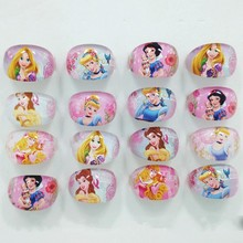 Qinz Jewelry Shop 2016 New Mixed Girls Lucite Children Kids 20Pcs Cartoon Girls Snow White Rapunzel Princess Lucite Rings Gift(China)