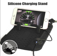 Magnetic USB Charging Cradle Docking Stand Silicone Car Phone Holder Pad Air Vent For GPS Android iPhone 6 7 Plus Samsung S6 S7(China)