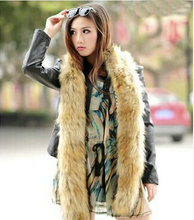 Scarves & Wraps Exclusive design of the new super long imitation fox raccoon fur luxury high-grade long scarf warm fur collar(China)