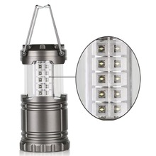 Gray Super Bright Lightweight 30 LED Camping Lantern Outdoor Portable Lights Water Resistant Camping Lighting Lamp