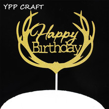 YPP CRAFT Gold/Silver Happy Birthday Party Cake toppers picks decoration for Kids Birthday party Cake favors Decoration supplies