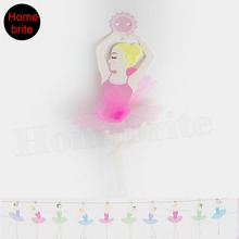 Girls Ballet Party Banner 30cm Tall Adjustable Hanging Garland With Lace Dress Birthday Event Decor Supplies 10pcs/set PT047(China)