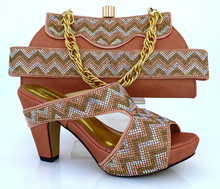 MM1010  Peach Color Hot Sale African Ladies Shoes And Bag Set To Match Fashion African High Heels With Purse Online