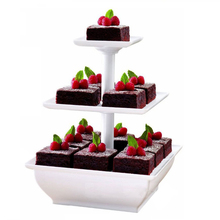 Assemble Snack Server 3 Tiers Square Shape Cake Stand  Wedding Birthday Party Supplies Cupcake Holder Display White HK070
