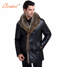 2017-18 Mens Wear Fur Coat Brand Clothing Black Leather Jacket Men's Raccoon Fur Lined Winter Coat Man Plus Size M-5XL(China)