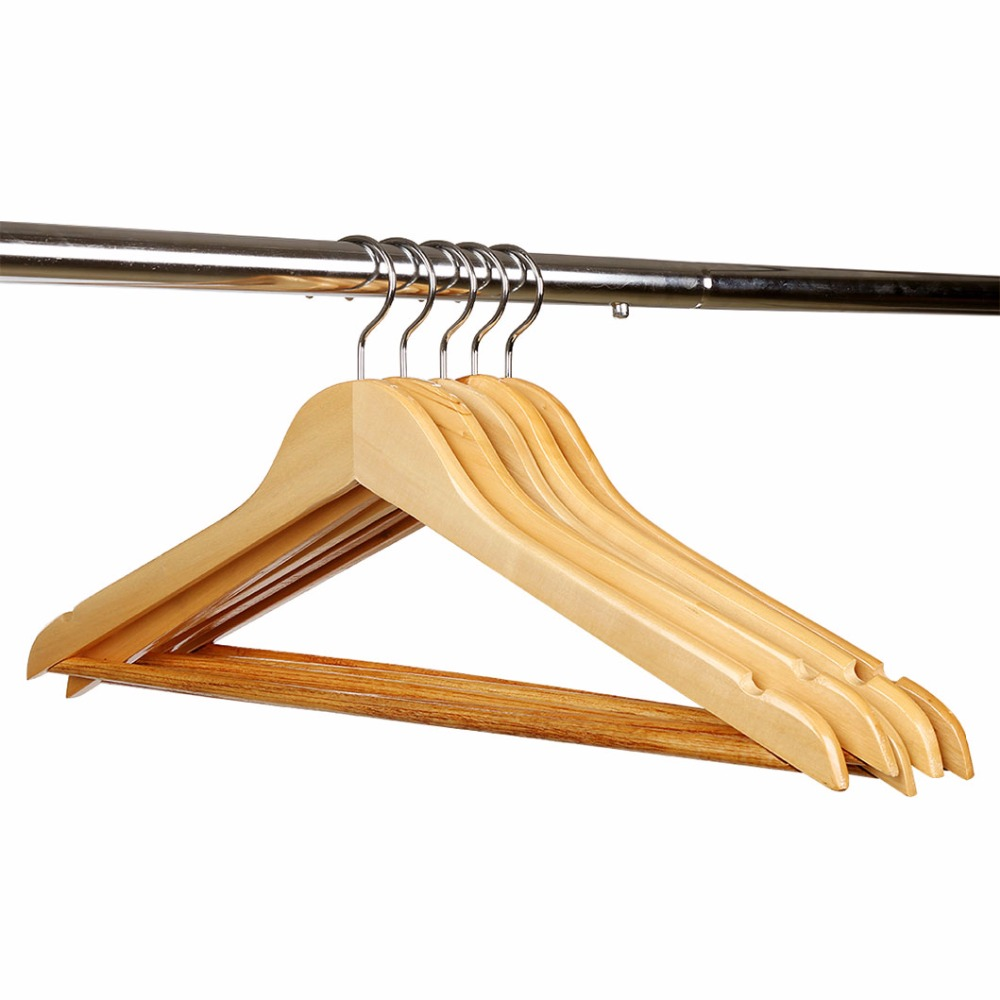 HLC Wooden Hanger Rack Suit Garment Clothes Wardrobe Wood Hanger Set of 10 Perfect for Home Storage Use <br>