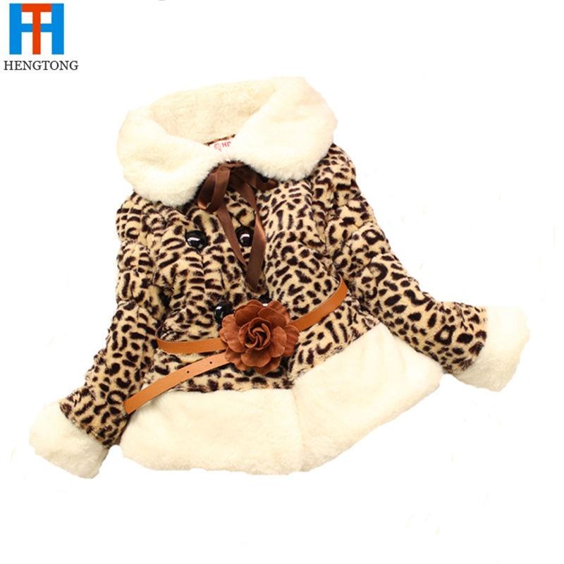 Retail drop shipping Baby Kids Girls Thicken Faux Fur Fleece Leopard Coat Winter Warm Jacket 3-5T Baby Girl CoatОдежда и ак�е��уары<br><br><br>Aliexpress