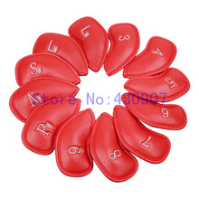 High Quality 12pc/set GOLF Red Thick PU leather Iron Head Covers For Golf Iron Sets(3,4,5,6,7,8,9,Pw,Aw,Sw,lw,lw)