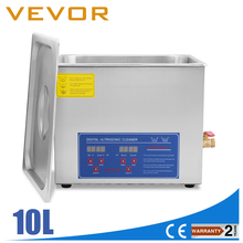 US Free shipping New Stainless Steel 10 L Liter Industry Heated Ultrasonic Cleaner Heater w/Timer(China)