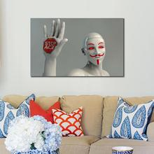 Modern Poster Abstract people robot mannequin protest gesture Canvas Printings Wall Canvas High-tech Art Prints for Living Room