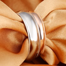 Free Custom Engraving Stainless Steel Stamping Blank Decorated Edges Ring - Silver, Rose Gold