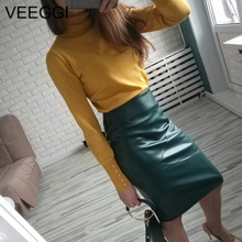 VEEGGI 우아한 (High) 저 (허리 Faux Leather Skirts New Arrival Office Lady Bodycon Women Warm 연필 Skirts Plus Size Skirt S1711306(China)