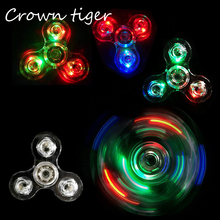 Led Light Fidget Spinner colorful Plastic EDC crystal light Hand Spinner luminous for Autism ADHD AntiStress toy finger spinner(China)