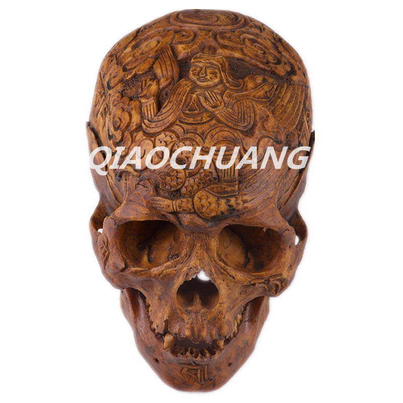 Statue Eight Diagrams Crafts Apocalypse Series Kapala Human Skull Bone Handicrafts 1:1 Resin Skull Bone Engraving Collectibles(China)