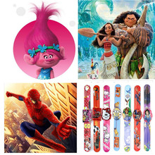 2 pcs Cartoon Watch Trolls Moana Hello Kitty Spiderman Princess Sophia Snow White Minions Action Figure Watch Strap Kid Gift Toy