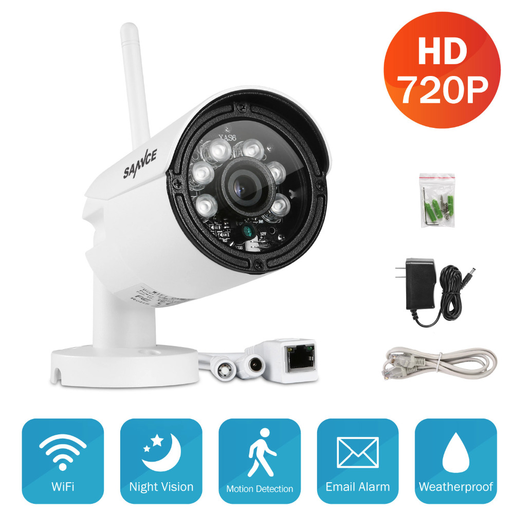 SANNCE 720P Outdoor Wireless IP In/Outdoor IR Home Camera Security System+32GB TF Card<br>