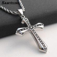 Samyeung Men's Cross Necklaces For Women Stainless Steel Silver Color Pendant Prayer Long Chain Necklace Male Jewelery(China)