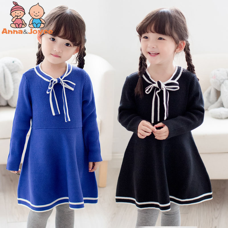 Baby knitting dress 2017 qiu dong outfit new childrens wear childrens tie sweater dress of the girls ATST3670<br><br>Aliexpress