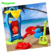Happyxuan 6 pieces Set Kids Cartoon Plastic Windmill Sand Toy Kettle Mold Shovel Water Play Outdoor Fun Children Gift
