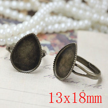 200pcs Antique Brass Pad Open Adjustable RING teardrop Base Cabochon Size:13x18mm,Ring base beads