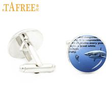 TAFREE dangerous sharks cuff links for men jewelry glass cabochon swimming scuba diver & shark glass cabochon cufflinks E979(China)