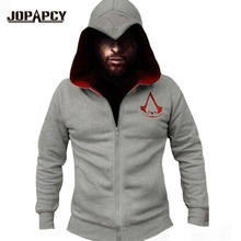2017 Primavera de Moda de Nova Assassins Creed Hoodies Homens Zipper Hip Hop Moletom Com Capuz Casuais Trajes Cosplay MXE0148 XS-XXL