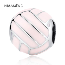 NBSAMENG Authentic 925 sterling-silver-jewelry Bead Charm Pink Plating glaze Volleyball Sports Beads Fit Women Bracelets yw20354